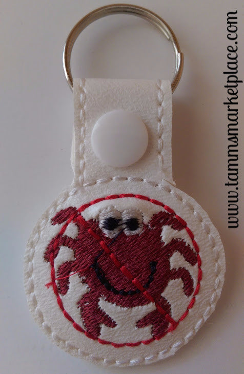 Embroidered Keychain for Crab Allergy JAY003