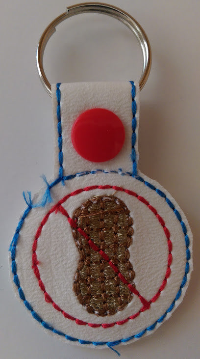 Embroidered Keychain for Peanut Allergy JAY004