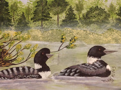 Two Loons Swimming is Hand Painted in Acrylics and Matted and Framed MKA002