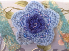 Blue Hand Painted Welcome Sign with Sparkly Ribbon and Crocheted Flower MKA003