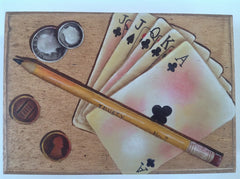 Painted Box holds 2 Decks of Cards for your favorite card player MKA006