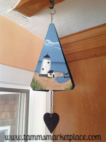 Hand Painted Lighthouse Metal Wind Chime MKA011