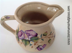 Hand Painted Ceramic Pitcher with Purple Morning Glory Flowers and Leaves MKA018