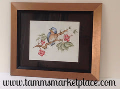 "Blue Bird on Branch Original Acrylic Painting Matted and Framed 17.5"" x 14.5"" MKA019"