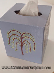 Hand Painted Tissue Box with all 4 Seasons represented by changes of Trees MKA020