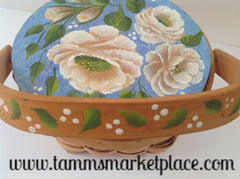 Hand Painted Flowered Top Basket with White Flowers and Blue Background MKA023