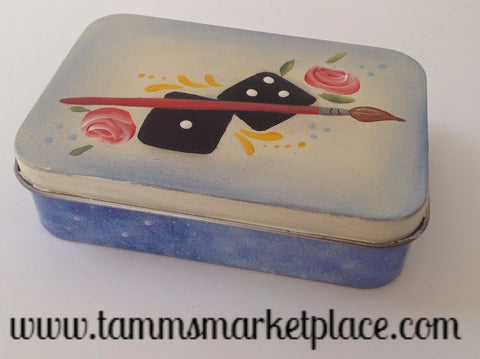 Hand Painted Tin Box with Flip Flop Nait Kit Inside MKA027