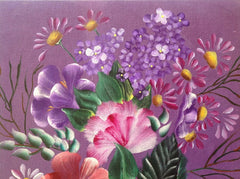 Purple Themed Flowers Painted in Acrylics and Framed MKA028