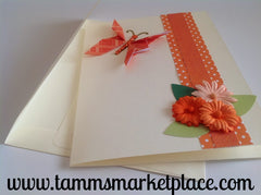 Orange Butterfly with Bling and Flowers Card - Blank Inside MKC001