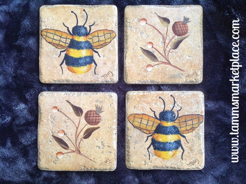 Bumble Bee Ceramic Tile Coasters Set of 4 MKT001