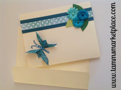 Blue Butterfly with Bling and Flowers Card - Blank Inside MKC002