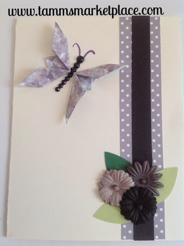Purple Butterfly with Bling and Flowers Card - Blank Inside MKC003
