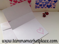 Happy Valentine's Day Card with Pink Hearts and Ribbon MKC017
