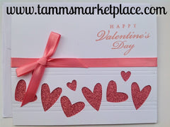 Happy Valentine's Day Card with Light Pink Hearts and Ribbon MKC018