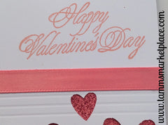 Happy Valentine's Day Card with Light Pink Hearts and Ribbon MKC019