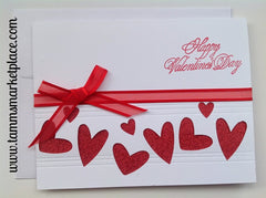 Happy Valentine's Day Card with Red Hearts and Ribbon MKC021