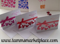Set of 3 Happy Valentine's Day Card with Hearts and Ribbons MKC022