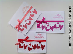 Set of 3 Happy Valentine's Day Card with Hearts and Ribbons MKC023