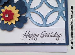 Happy Birthday Flowers and Circular Lattice Card MKC026