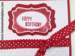 Red Happy Birthday Card with Red Polka Dot Ribbon MKC027