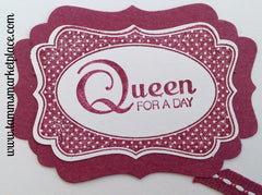 Queen For A Day Card in Maroon with matching Maroon Stitched Ribbon MKC031