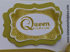 Queen For A Day Card in Green with matching Green Striped Ribbon MKC032
