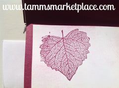 """Thanks"" Card stamped with Leaves in Maroon MKC038"