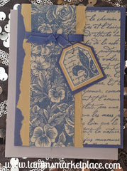 Blue and Yellow Flor de Lis Card with Blue Ribbon Accent MKC040