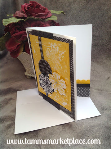 Black and Yellowish Gold Handmade Card with Jewels and Ribbon Accents MKC041