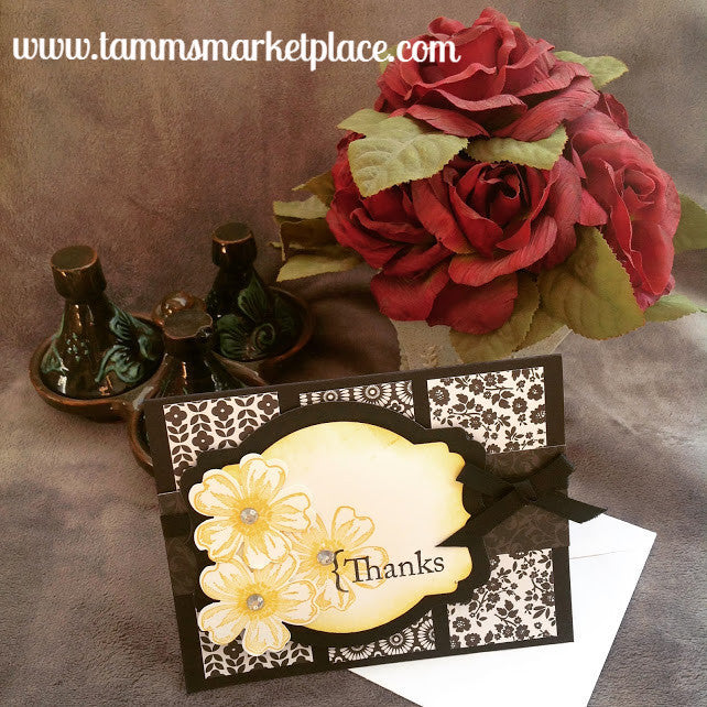 Thanks Handmade card in Black and Yellowish Gold with Jeweled Flowers MKC042