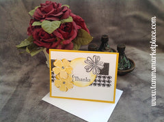 Thanks Handmade Card with Black and Yellowish Gold Flowers MKC043