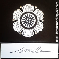 Jeweled Smile Card in Black and White MKC046