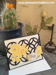 "Stamped, Embossed and Jeweled Black, White and Yellow ""Fun"" Card with Beautiful detail MKC047"