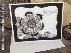 Handmade Get Well Card in Black and White with Jewels MKC048