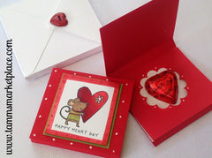 Happy Heart Day Mouse Card with Chocolate Heart Candy Inside MKC051