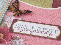 Sincerest Sympathy Card with Flowers and Butterflies Handmade MKC059
