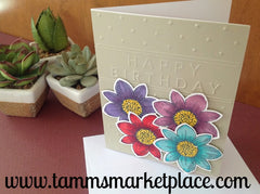 Embossed Happy Birthday Card with Four Stamped and Inked Flowers MKC060