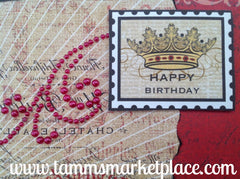 Happy Birthday Beaded Card with Butterflies and Raised Messages inside and out MKC061
