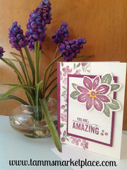 You Are Amazingly Amazing Stamped and Jeweled Handmade Card MKC063