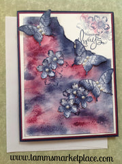 """Happiness Always"" Pearled Butterfly and Flowers Card MKC065"
