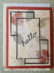Hello with Fall Time Leaves Stamped on this Hand Made Card MKC069