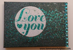"Mini Canvas with Easel ""Love You"" - Mixed Media Art MKM002"