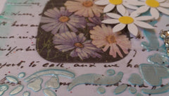 "Mini Canvas with Easel titled ""Daisies"" - Mixed Media Art with Flowers MKM005"