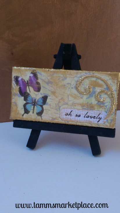 "Mini Canvas with Easel titled ""Oh So Lovely"" - Mixed Media Art with Butterflies MKM007"