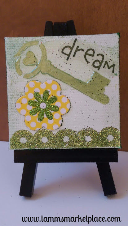 "Mini Canvas with Easel titled ""Dream"" - Mixed Media Art with Key and Flower MKM008"