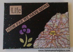 "Mini Canvas with Easel ""Life - How Far We Have Gone"" - Mixed Media Art MKM012"