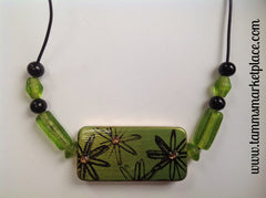 Green Flower Stamped Domino Necklace MKN001