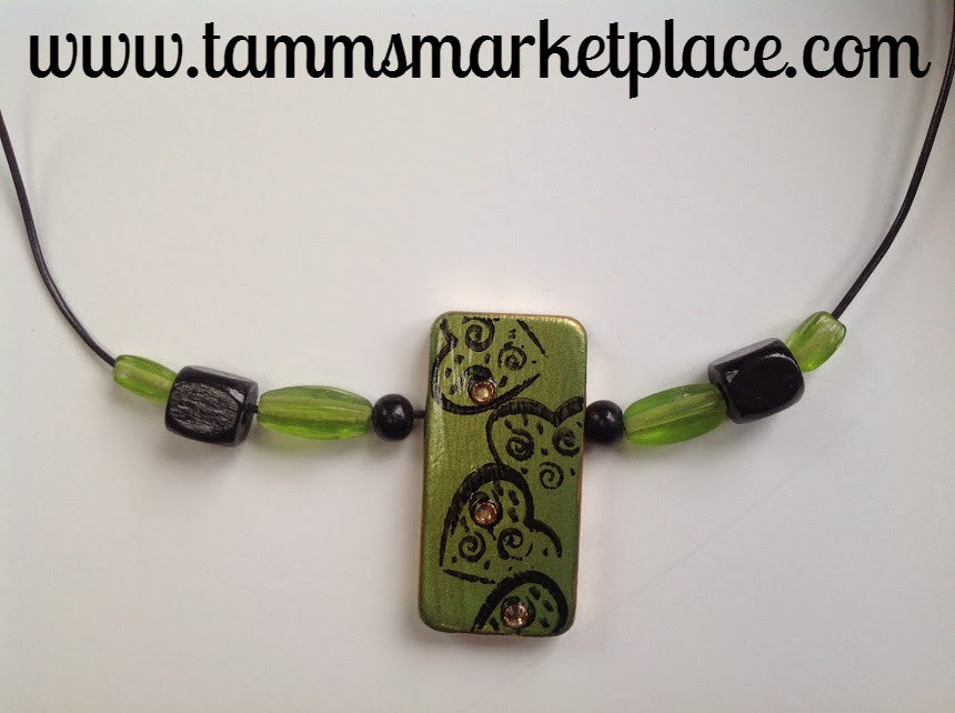 Green Heart Stamped Domino Necklace MKN002