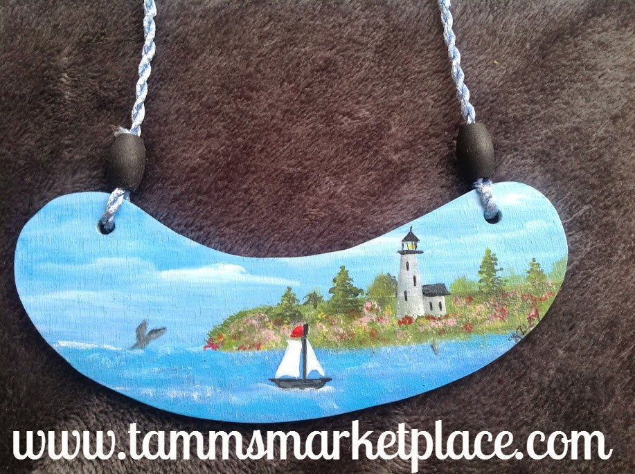 Hand Painted Ocean Scene with Lighthouse on Wooden Necklace MKN003