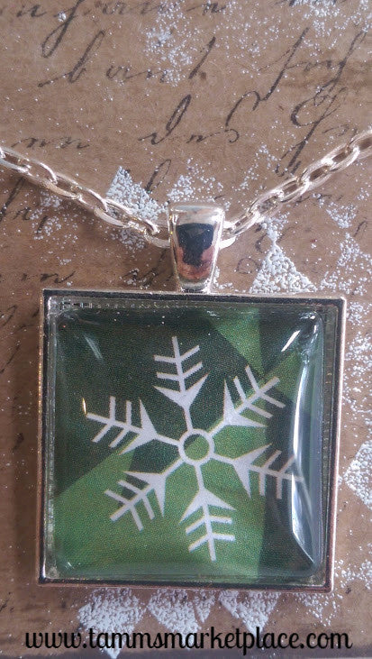 "Square 1"" Pendant Necklace with White Snowflake on Green Background MKN005"